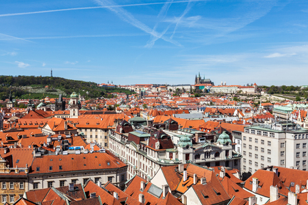 stare mesto: View of Stare Mesto (Old City) and and St. Vitus Cathedral from Town Hall. Prague, Czech Republic