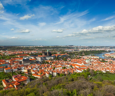 traveled: Aerial view of Hradchany part of Prague: the Saint Vitus (St. Vitts) Cathedral and Prague Castle, view from Petrin Observation Tower. Prague, Czech Republic Stock Photo