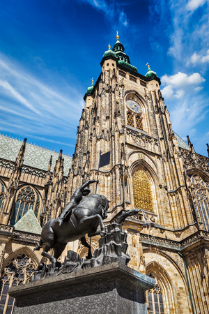 martyr: St. Vitus Cathedral and Saint George statue, Prague, Czech republic