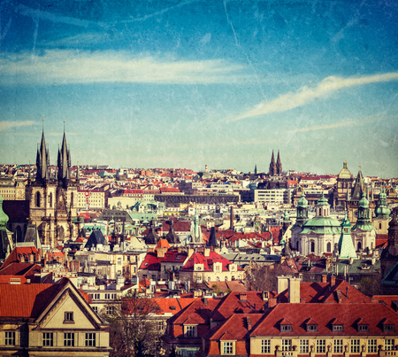 tynsky church: Vintage retro hipster style travel image of aerial view of Prague, Czech Republic with grunge texture overlaid Stock Photo
