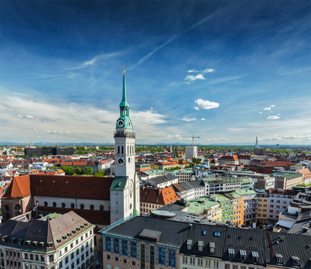 Aerial view of Munich and St. Peter Church  - Marienplatz and Altes Rathaus, Bavaria, Germany