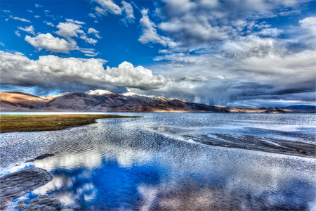 kashmir: High dynamic range image (HDR) of Himalayan mountain lake in Himalayas Tso Moriri, Korzok,  Changthang area, Ladakh, Jammu and Kashmir, India