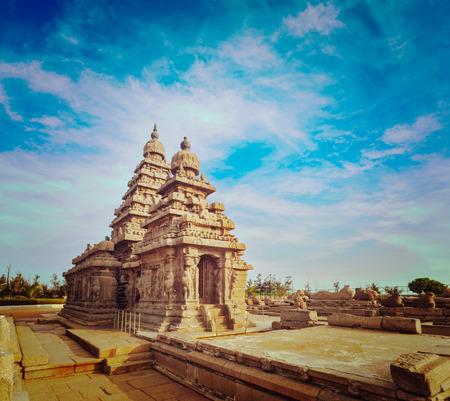 mahabalipuram: Vintage retro hipster style travel image of famous Tamil Nadu landmark - Shore temple, world  heritage site in  Mahabalipuram, Tamil Nadu, India