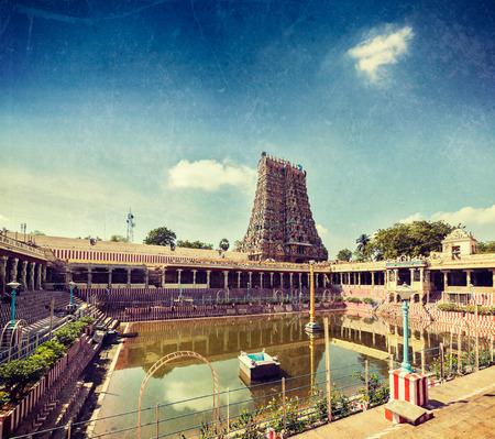temple tank: Vintage retro hipster style travel image of Sri Menakshi Temple water tank, Madurai, Tamil Nadu, India with grunge texture overlaid