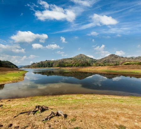 periyar: Periyar lake in Periyar wildlife sanctuary, Kumily, Kerala, India Stock Photo