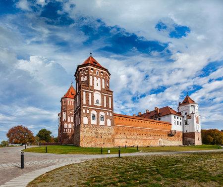 fortify: Travel belarus background - Medieval Mir castle famous landmark in town Mir, Belarus Editorial