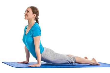 Yoga - young beautiful woman yoga instructor doing  Upward Facing Dog Pose (Back Bend) (Urdhva Mukha Svanasana) asana exercise isolated on white background Stok Fotoğraf - 29912402