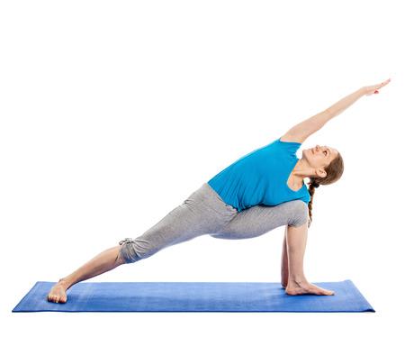 parsvakonasana: Yoga - young beautiful slender woman yoga instructor doing Extended Sides Angle Pose (Utthita Parsvakonasana) asana exercise isolated on white background