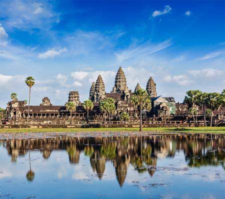 angkor wat: Cambodia landmark Angkor Wat with reflection in water