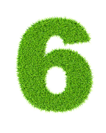number 6: Grass number 6 (six) - ecology eco friendly concept character type Stock Photo