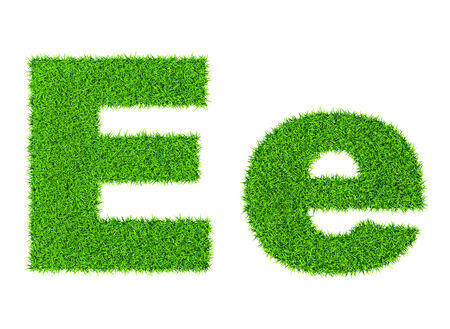 letter e: Grass letter E - ecology eco friendly concept character type