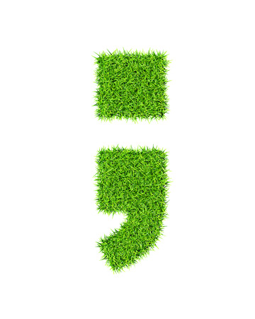 and comma: Grass alphabet semicolon period comma - ecology eco friendly concept character type Stock Photo