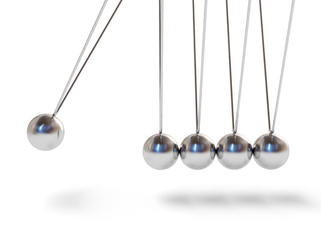 consequence: Action sequrence concept background - Newtons cradle executive toy isolated on white background