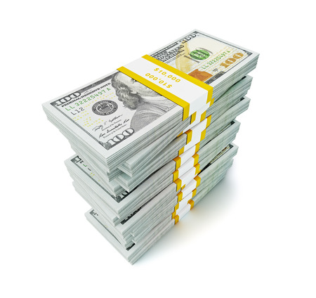 Creative business finance making money concept - stack of new new 100 US dollars 2013 edition banknotes (bills) bundles isolated on white background money stack on white photo
