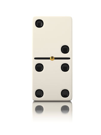 Domino game bone close up isolated on white photo
