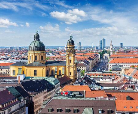 church worship: Aerial view of Munich over Theatine Church of St. Cajetan (Theatinerkirche St. Kajetan) and Odeonplatz, Munich, Bavaria, Germany Stock Photo