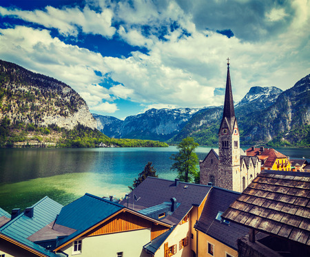 austrian village: Vintage retro effect filtered hipster style travel image of Austrian tourist destination Hallstatt village on  Hallstätter See in Austrian alps. Salzkammergut region, Austria