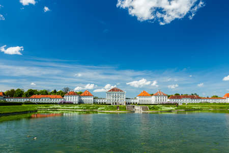 Artificial pool in front of the Nymphenburg Palace. Munich,\ Bavaria, Germany