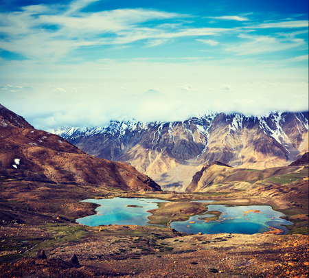horizontals: Vintage retro effect filtered hipster style travel image of mountain lakes in Spiti Valley in Himalayas. Himachal Pradesh, India Stock Photo