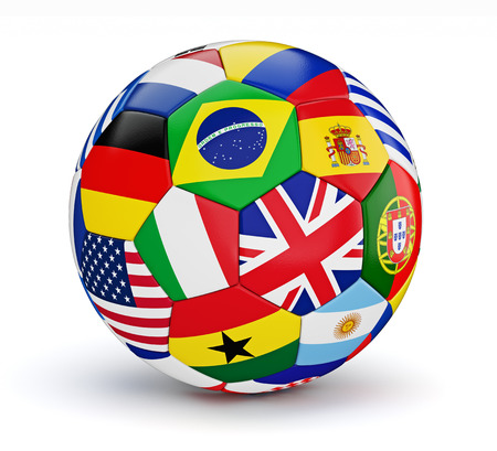 football ball: Soccer ball with world countries flags isolated on white background Stock Photo