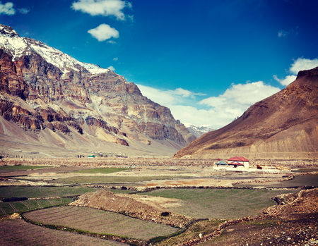 horizontals: Vintage retro effect filtered hipster style travel image of Spiti Valley. Himachal Pradesh, India Stock Photo