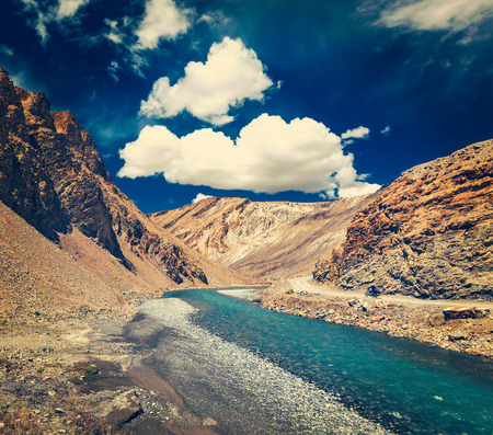 ladakh: Vintage retro effect filtered hipster style travel image of Himalayan landscape in Hiamalayas near Baralacha La pass. Himachal Pradesh, India