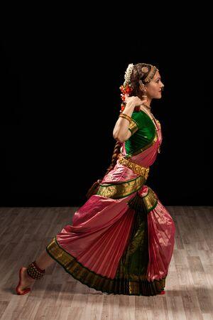 bharatanatyam: Young beautiful woman dancer exponent of Indian classical dance Bharatanatyam