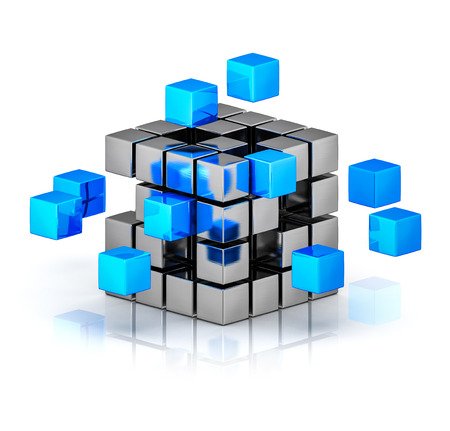 group solution: Business teamwork internet communication concept - cubes assembling into metal cubic structure isolated on white with reflection