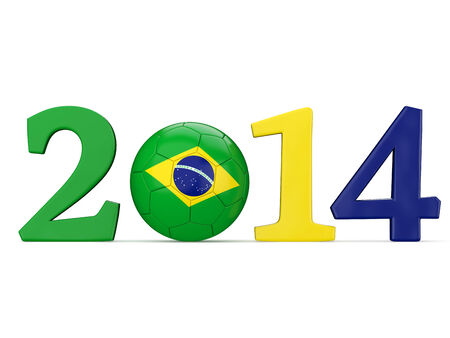 2014 text with soccer ball and Brazil flag isolated on white background photo