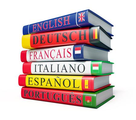 estudiando: Lengua extranjera concepto estudio fondo - pila de diccionarios aislado en fondo blanco