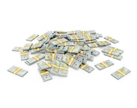 US dollars banknotes - creative business finance making money concept - pile of new 100 US dollars 2013 edition banknotes (bills)  bundles photo