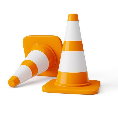 Orange highway traffic construction cones 스톡 콘텐츠