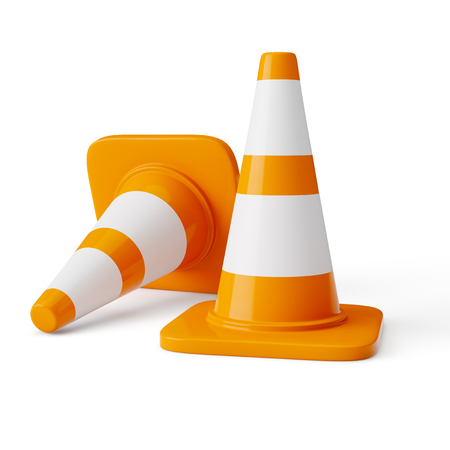 traffic: Orange highway traffic construction cones Stock Photo