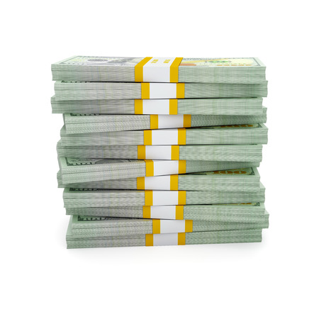 cash money: Stack of new US dollars 2013 edition bills