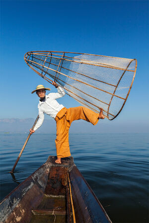inle:  Traditional Burmese fisherman in Myanmar