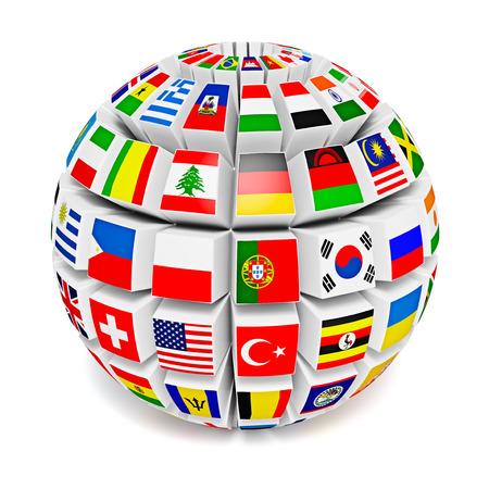 bandera blanca: Esfera Globo con las banderas del mundo Foto de archivo
