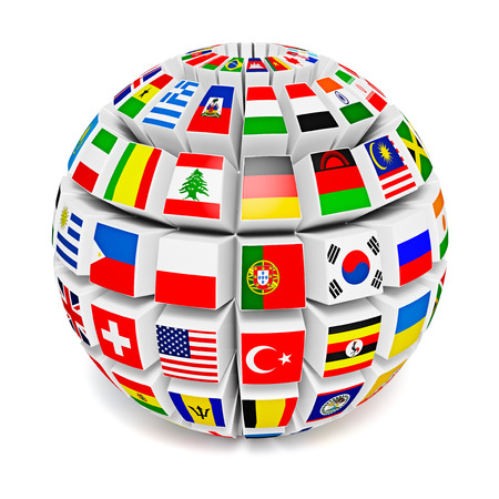 maps globes and flags: Globe sphere with flags of the world