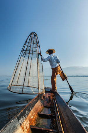 inle:  Traditional Burmese fisherman at lake, Myanmar