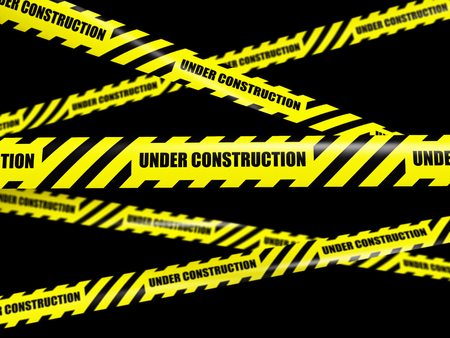 construction barrier: Yellow warning caution ribbon tape on black