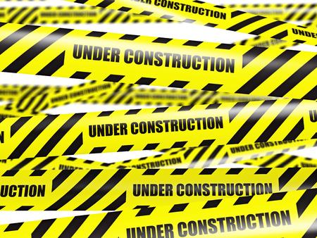 Yellow warning caution ribbon tape on white photo