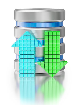 hard disk drive data storage database icon symbol with arrows isolated on white background photo