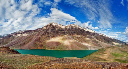 tal: Chandra Tal lake in Himalayas Stock Photo