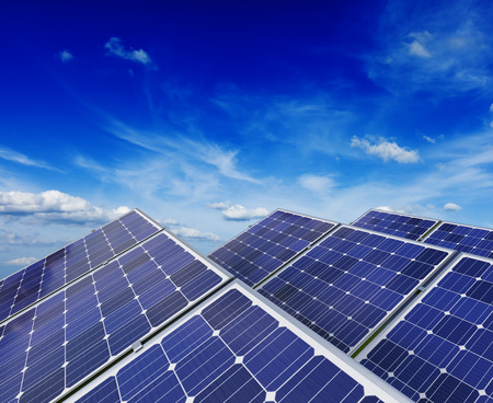 solar power plant: Solar battery panels under blue sky Stock Photo
