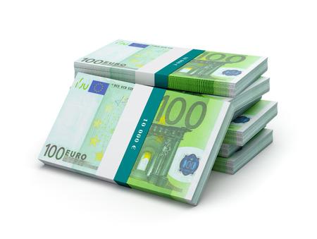 billets euro: Stack de 100 billets en euros factures faisceaux isolé
