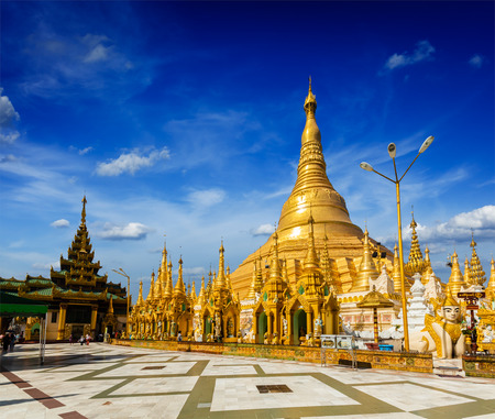 landmark: Myanmer famous sacred place and tourist attraction landmark - Shwedagon Paya pagoda. Yangon, Myanmar