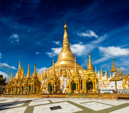 Myanmer famous sacred place and tourist attraction landmark - Shwedagon Paya pagoda. Yangon, Myanmar