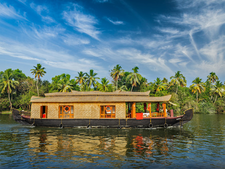 houseboat: Houseboat on Kerala backwaters, India Stock Photo