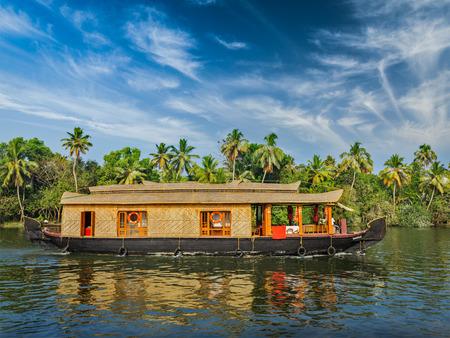 kerala backwaters: Houseboat on Kerala backwaters, India Stock Photo