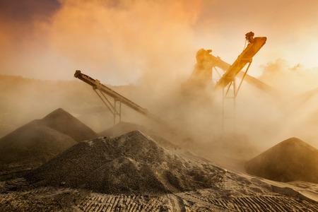 gravel pit: Industrial crusher - rock stone crushing machine Stock Photo