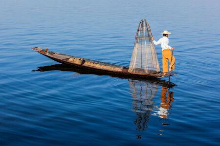 fisherman boat: Burmese fisherman at Inle lake, Myanmar